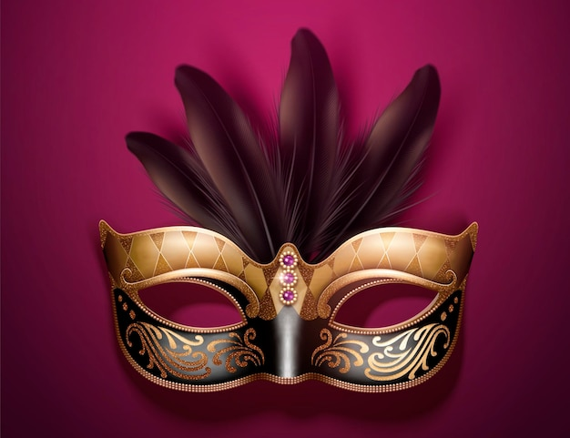 Glamorous mask with feathers in 3d illustration on burgundy purple background