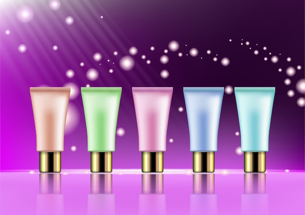 Glamorous set of cosmetic tubes on the sparkling effects