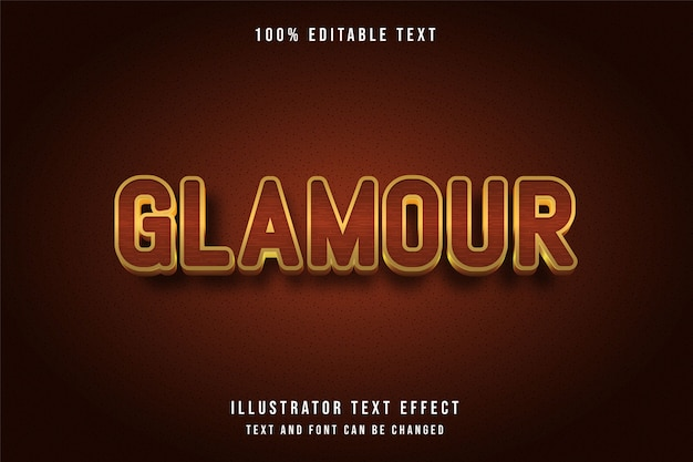 Гламур, 3d редактируемый текстовый эффект желтый оранжевый золотой стиль