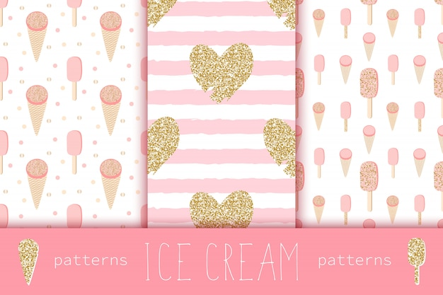 Glamour seamless patterns with gold heart and ice creams