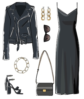 Glamour women apparel, total black look consisting of elegant dress, leather jacket, sunglasses and bags. accessories for stylish completion of outfit, fashion and trends. vector in flat style