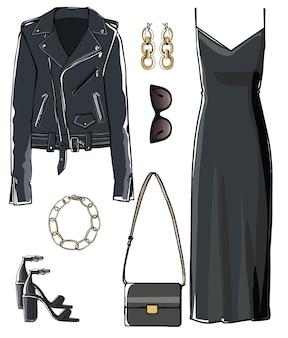 グラマーな女性用アパレル、エレガントなドレス、レザージャケット、サングラス、バッグで構成される完全な黒の外観。服装、ファッション、トレンドをスタイリッシュに仕上げるためのアクセサリー。フラットスタイルのベクトル