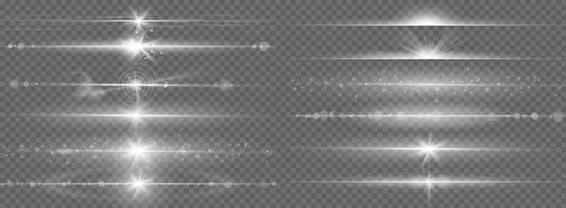 グレアライン効果。水平光学レンズフレアライト、夜の未来的なダスティンググローストリップ、輝く縞、フラッシュスターライトベクトルセット。魔法のビームフレア、明るいレンズフレア水平イラスト