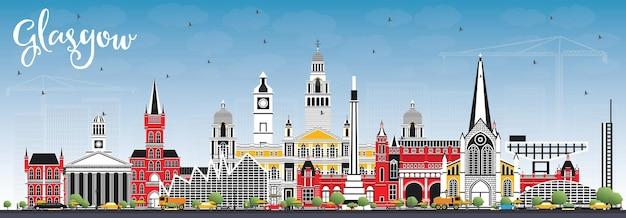 색상 건물과 푸른 하늘이 있는 글래스고 스코틀랜드 도시의 스카이라인. 벡터 일러스트 레이 션. 역사적인 건축과 비즈니스 여행 및 관광 개념입니다. 랜드마크가 있는 글래스고 도시 풍경.