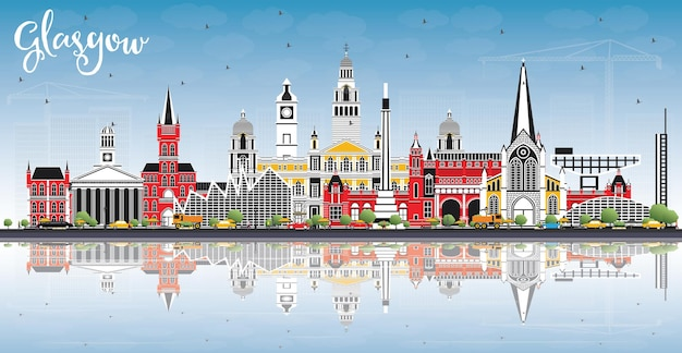 Glasgow scotland city skyline with color buildings, blue sky and reflections. vector illustration. business travel and tourism concept with historic architecture. glasgow cityscape with landmarks.