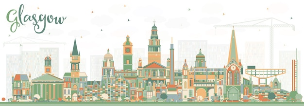 Glasgow scotland city skyline with color buildings. vector illustration. business travel and tourism concept with historic architecture. glasgow cityscape with landmarks.