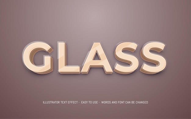 Glass 3d text editable style effect template
