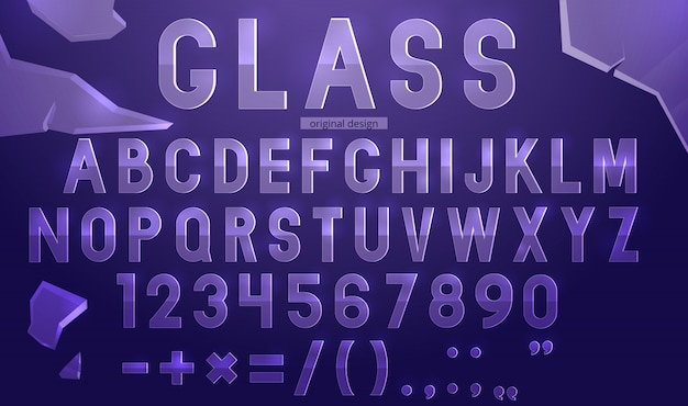 Glass alphabet template