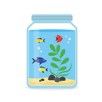 Glass aquarium with colorful fishes for interior home. equipment hobby flat style.