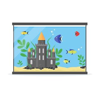 Стеклянный аквариум с украшениями, камнями и растениями для интерьера дома. оборудование хобби плоский стиль.