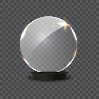 Стеклянная награда, изолированные на прозрачном фоне