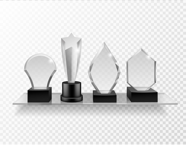 Glass award on shelf on transparent background