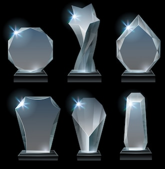 Glass award on stand, acrylic awards trophies and clear winner crystal realistic vector set
