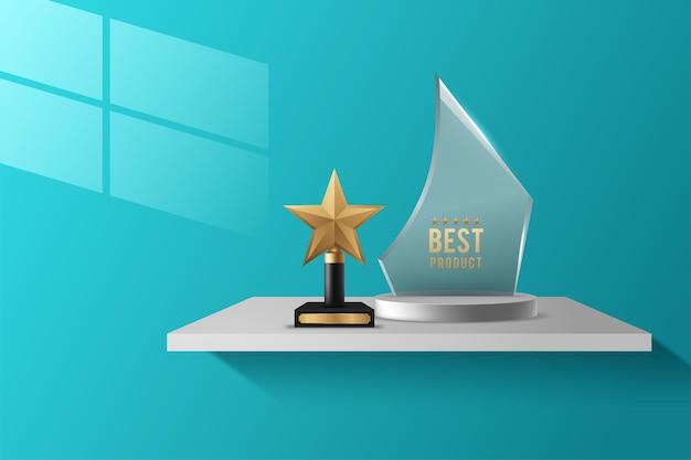 Trofeo del premio di vetro o illustrazione realistica di vettore del premio del vincitore