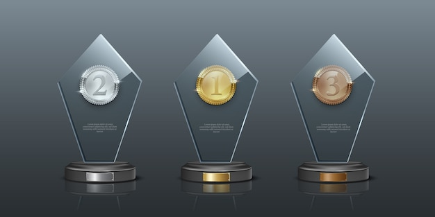 Glass awards realistic illustration, crystal prizes with blank golden, silver and bronze medals.