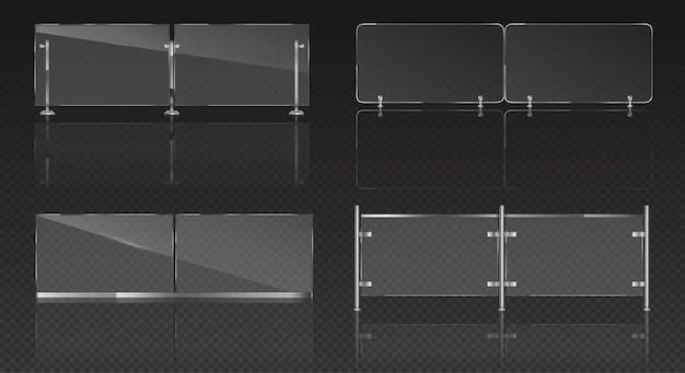 バルコニー、テラスまたはプールのための金属の手すりが付いているガラスの欄干。