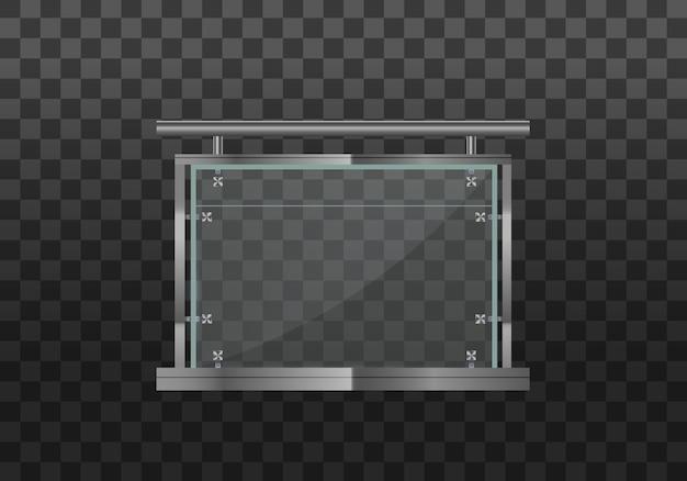 金属の手すりがセットされたガラスの欄干。鋼製の柱を備えた手すりまたはフェンスのセクション。金属製の管状の手すりと家の階段、家のバルコニーのための透明なシートが付いているガラスフェンスのセクション。