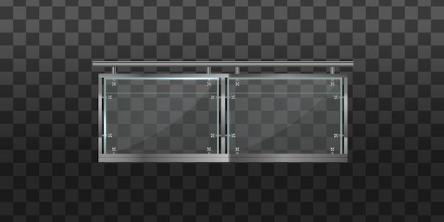 Стеклянная балюстрада с металлическими перилами. перила или ограждения со стальными опорами. секция стеклянных заборов с металлическими трубчатыми перилами и прозрачными листами