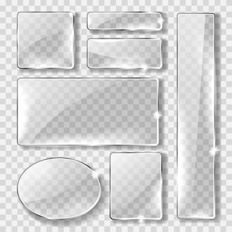 유리 배너 또는 접시, 현실적인 세트