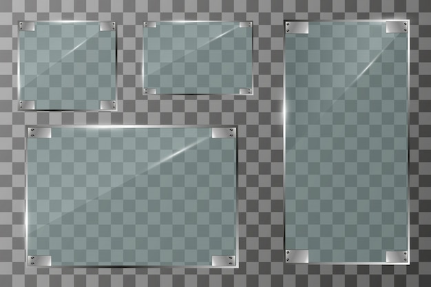 Glass banners on transparent background.empty transparent glass frame. clean background.