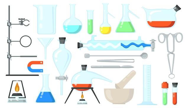 Set di bicchieri di vetro. tubi e bottiglie da laboratorio, strumenti per esperimenti chimici. illustrazione vettoriale piatto per chimica, laboratorio, ricerca di laboratorio, concetto di scienza.