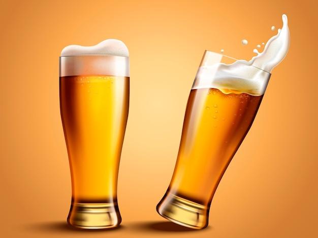 튀는 맥주와 유리 맥주 컵, 3d 템플릿의 매력적인 맥주