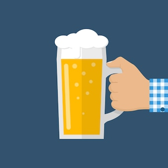 Glass of beer men holding in hand. mug in hand isolated in flat style