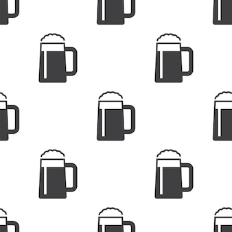 Glass of beer, vector seamless pattern, editable can be used for web page backgrounds, pattern fills