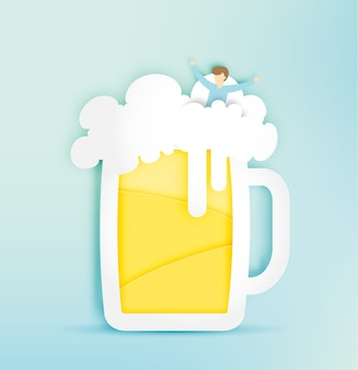 Glass of beer with bubble and funny man in paper cut style vector illustration