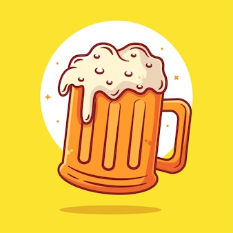 A glass of beer with foam illustration isolated drink logo vector icon illustration in flat style