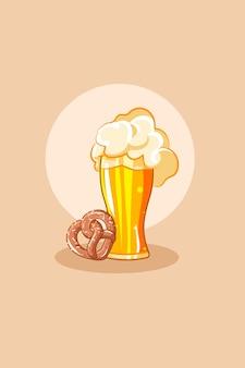 Glass beer with pretzel in oktoberfest cartoon illustration