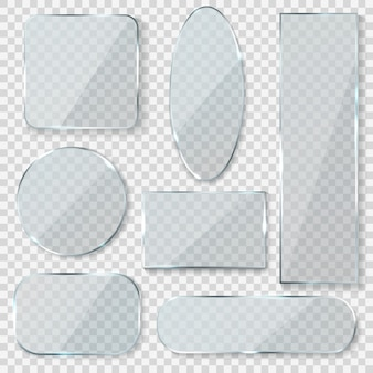 Glass blank banners. rectangle circle glass texture window plastic clear labels with reflection acrylic shiny panels
