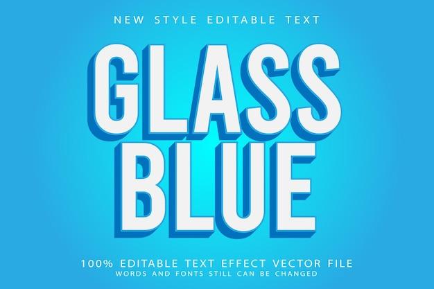 Glass blue editable text effect emboss modern style