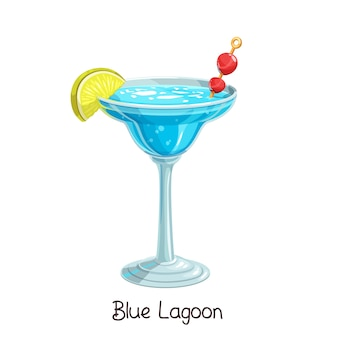 Glass of blue lagoon cocktail with slice lemon and cherry  on white. color illustration summer alcohol drink.