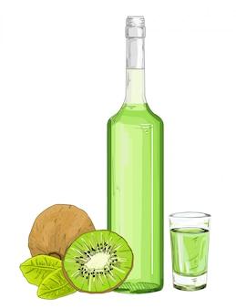 ガラス瓶とキウイリキュールイラストで撮影。白い背景の上のキウイシロップ