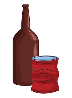 Glass bottle and can icon cartoon