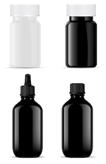 Glass bottle. cosmetic essential oil. pill jar