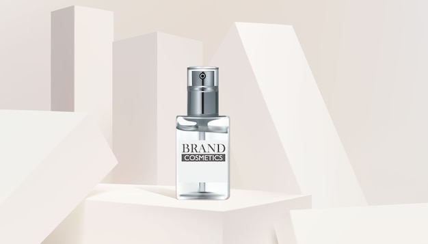 Glass bottle cosmetic product banner template