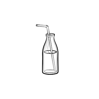Glass bottle of milkshake with straw hand drawn outline doodle icon. take away milkshake vector sketch illustration for print, web, mobile and infographics isolated on white background.