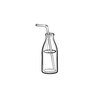 わらの手描きのアウトライン落書きアイコンとミルクセーキのガラス瓶。白い背景で隔離の印刷物、ウェブ、モバイル、インフォグラフィックのミルクセーキベクトルスケッチイラストを取り去ります。