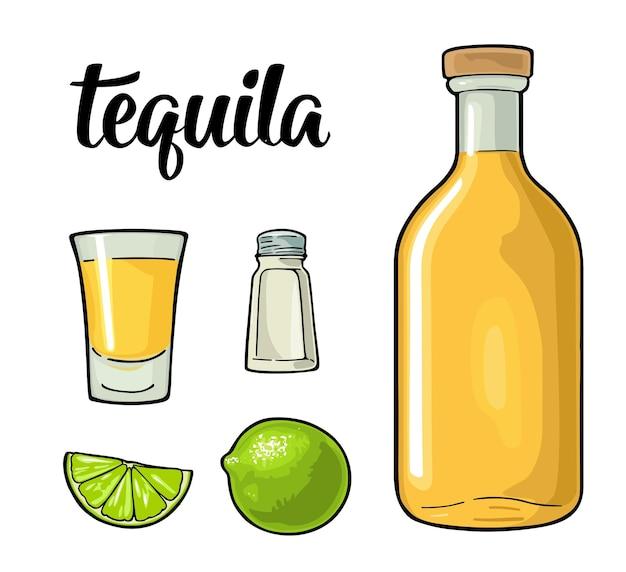 Glass bottle salt and lime vintage color vector illustration for label poster isolated on white