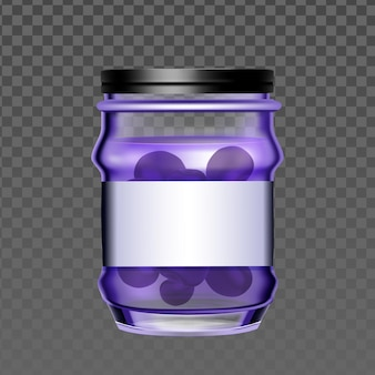 Glass bottle with blueberry berries jam vector