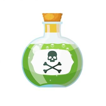 녹색 액체와 두개골과 뼈의 표시와 함께 코르크 마개와 유리 병. 작은 유리 병의 물약. 만화 스타일. 스톡 벡터 일러스트 레이 션 프리미엄 벡터