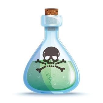 녹색 액체와 유리 병. 독 한 병. 독약 병에 두개골과 뼈.