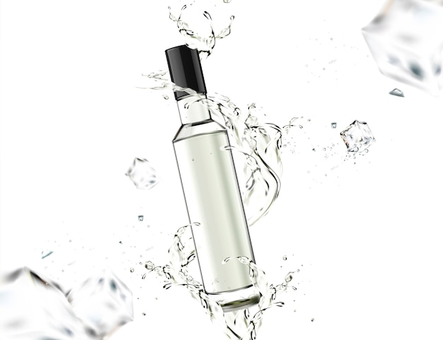 Glass bottle with liquid swirling around it on white background
