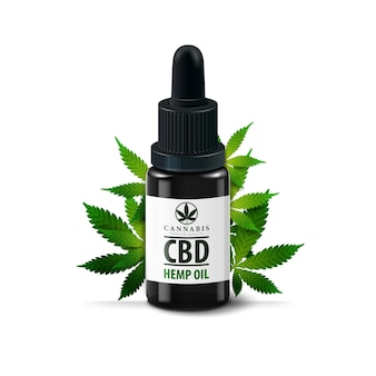 Glass bottle with pipette isolated . glass black bottle of medical cbd oil and hemp leafs isolated