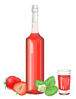Glass bottle with strawberry alcohol liqueur illustration. red shot glass with strawberry on a white background isolated. berry syrup.