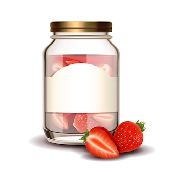 Glass bottle with strawberry berries jam vector