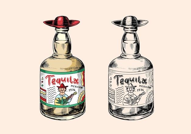 강한 음료와 함께 유리 병. 빈티지 멕시코 데킬라 배지.