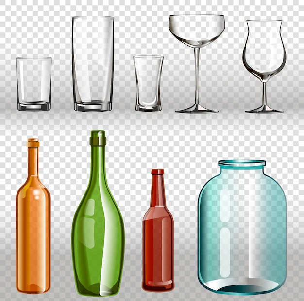 Glass bottles ans realistic transparent 3d set.